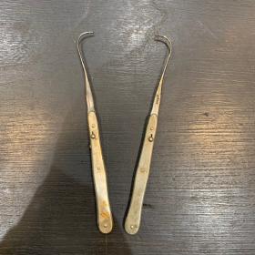 Instrument de chirurgie ancien: Porte-fil de poche en acier rétractable