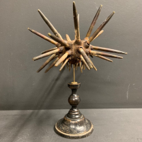 Pencil sea urchin on victorian wooden stand